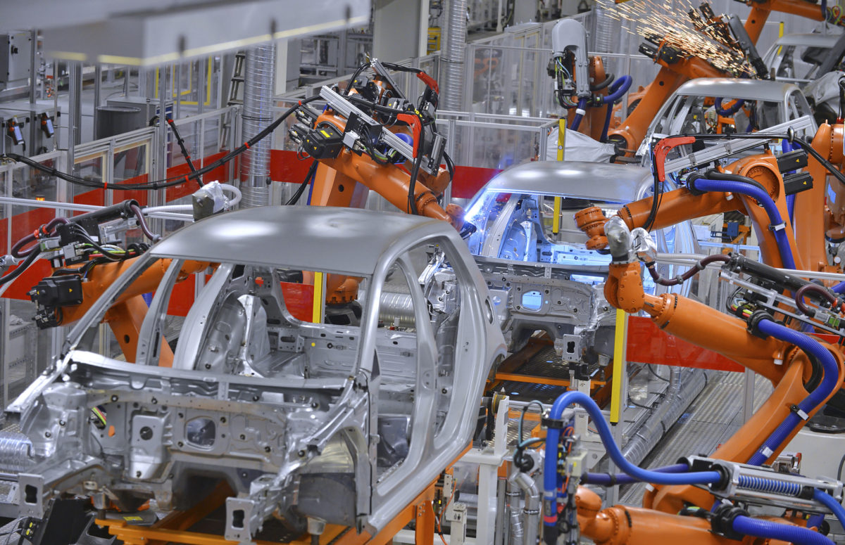 Robots on automotive production line